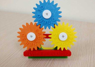 Engranajes impresos en impresora 3D